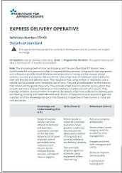 Institute for Apprenticeships Express delivery operative